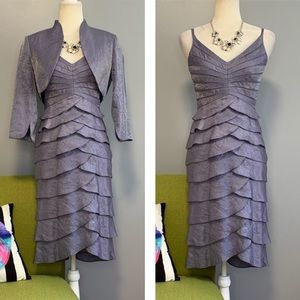 Adrianna Papell Shutter Pleat Dress & Bolero Set